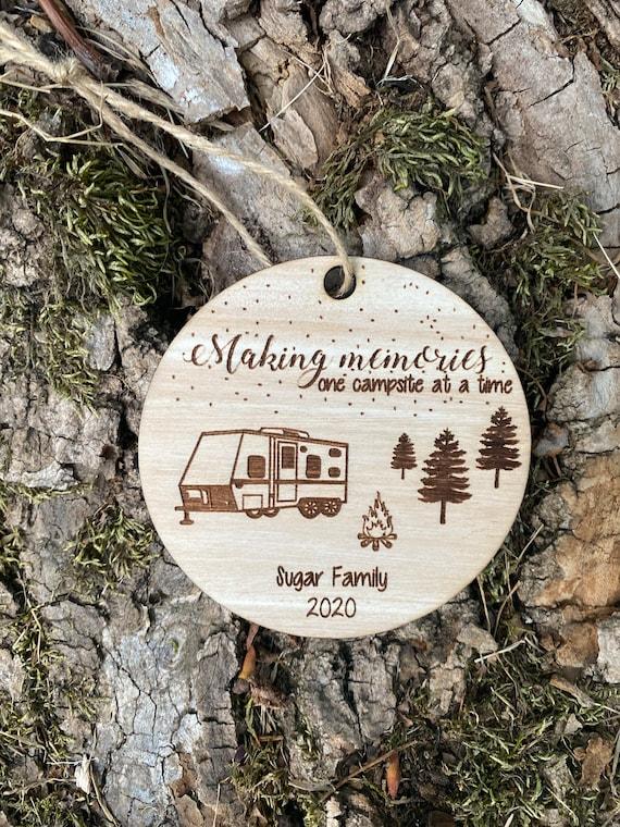 Camping Ornament Happy Camper Travel Trailer Campsite