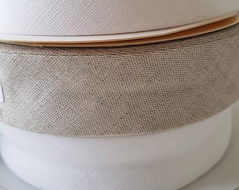 White Linen Bias Binding 30mm Tape Fany Folded