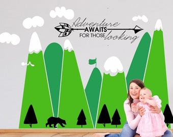 Adventure await quote, Mountains wall decal, Removable, Self adhesive, wall decor for kids room, Nursery, Woodland, Multicolor, Sticker