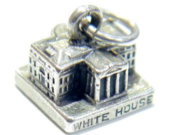 Vintage United States 3D White House Charm, Sterling Silver 925
