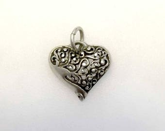 Valentine's Gift, Vintage Filigree Art Neavou Heart Charm or Pendant with Cut Out Details and Floral Swirls, 925 Sterling Silver
