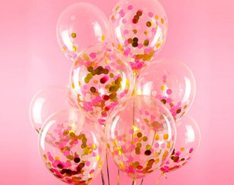Pink And Gold Confetti Balloons Birthday Multi Color