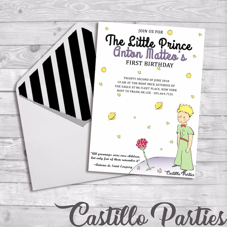 Little Prince Custom Birthday Invitations The Little Prince