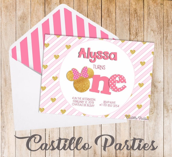 Custom Minnie Mouse Birthday Invitations Pink And Gold Etsy