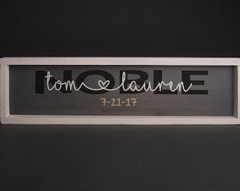 Personalized Wedding Last Name Sign With Wood Frame