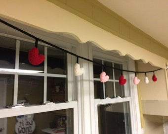 Crochet Heart Garland - valentine's day