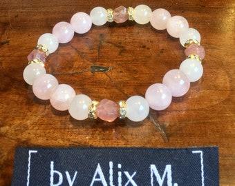 Bracelet en Jade blanc, Quartz Rose et Quartz Fraise