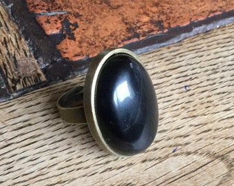 Large vintage ring in Obsidian