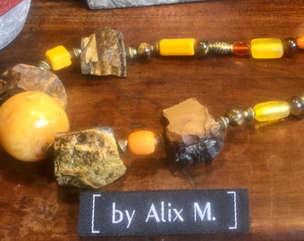 Tiger Eye necklace and glass, resin and ceramic beads