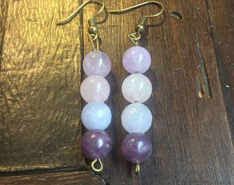 Earrings with 4 soft stones