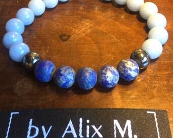 Bracelet en Lapis-lazuli, Angélite bleue Grade A et Hématite