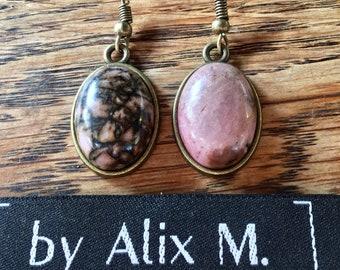 Boucles d'oreilles vintage en Rhodonite