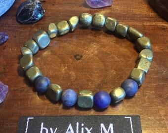Bracelet pour Homme en Pyrite et Sodalite