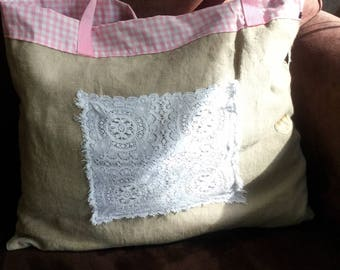 Stunning linen bag and old doily!