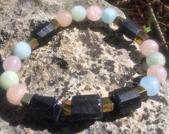 Bracelet en Morganite, Tourmaline brute et Hématite dorée