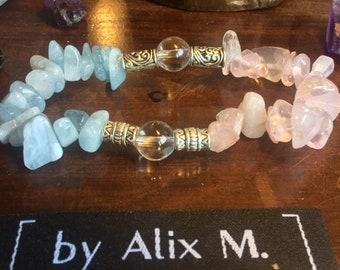 Bracelet en Aiguë Marine, Quartz Rose et Cristal de Roche Grade A