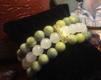 Triple-ranked bracelet in Green Jade and Jade White