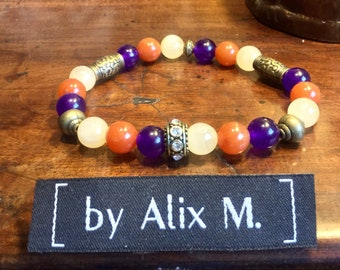 Yellow Jade Honey and Violet and Orange Aventurine bracelet