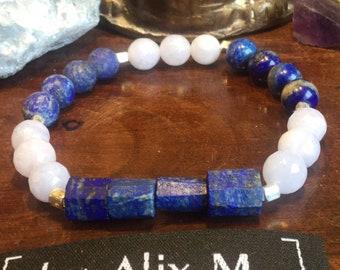 Bracelet Homme ou femme en Lapis-lazuli et Calcédoine Grade A