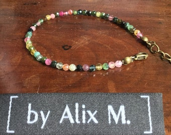 Bracelet, with clasp, in 2mm multi-coloured Tourmaline