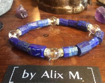 Bracelet en Lapis-lazuli brut et  Cristal de Roche Grade A