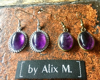 Bronze and indus vintage earrings. silver in purple Amethyst
