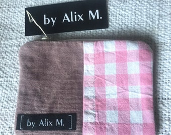 Small pocket or vichy wallet and pink velvet