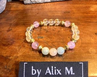 Bracelet en Améthyste Lavande, Citrine, Morganite et Cristal de Roche grade A