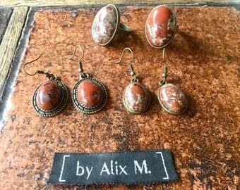 Vintage earrings in Jaspe Bréchique