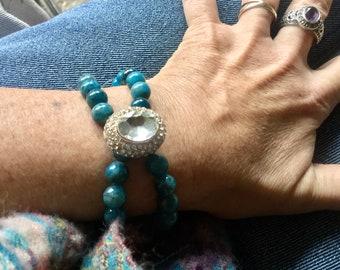 Bracelet double rang en Apatite bleue