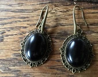 Vintage obsidian earrings