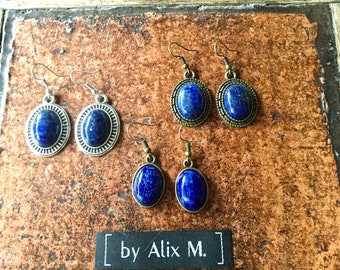 Baroque and vintage and silver earrings in Lapis-lazuli