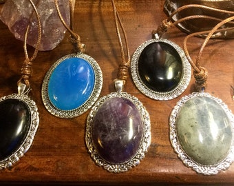 Large vintage silver pendant with Obsidian cord / Amethyst / Labradorite / Blue Agate