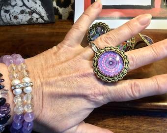 Large vintage rings with mandalas motifs