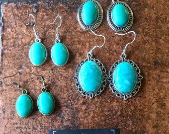 Boucles d'oreilles vintage et baroque bronze ou argentée en Amazonite Russe