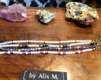 Bracelets en Topaze, Saphir, Iolite, Kunzite, Phosphosidérite