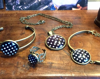 Bracelets, pendant and polka dot ring