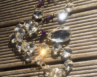 Adornment Collar and bracelet in ancient Sicilian and Amethyst pampilles