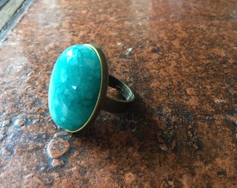 Large bronze or silver ring in Russian Amazonite