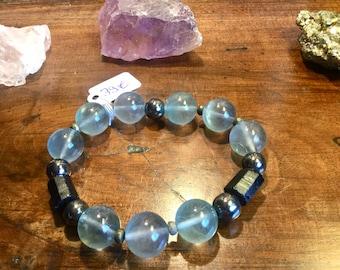 Bracelet en Fluorite bleue, Tourmaline noire et Hématite