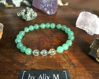 Bracelet Chance et Abondance pour Homme en Aventurine verte et Citrine