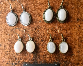 Vintage earrings, undue. bronze or silver in Quartz Rose