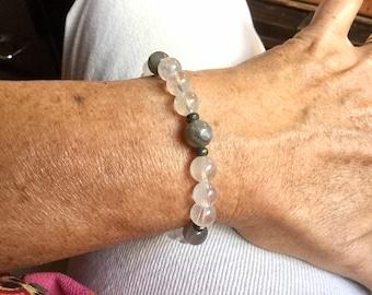 Bracelet en Topaze, Labradorite et Pyrite Grade A