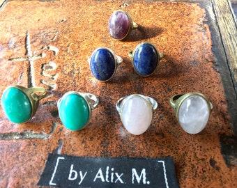 Bague T55 bronze ou argentée en Quartz Rose ou Amazonite Russe ou Lapis-lazuli ou Améthyste