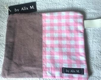 Vichy pocket and pink velvet