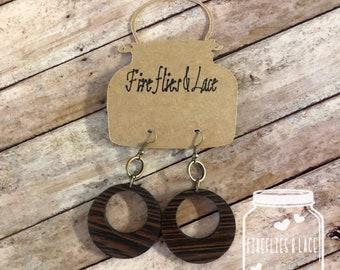 Earrings, wood earrings, lightweight earrings,