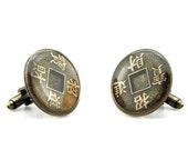 Feng Shui Cuff links - Lucky Cuff links - Zen Cuff links - Coin Cuff links - Money Cuff links - Medallion Cuff links - Numismatic Cufflinks