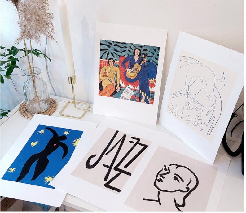 6c84bbbb457 Matisse print posters set jazz La Musique Icarus Pierre a feu