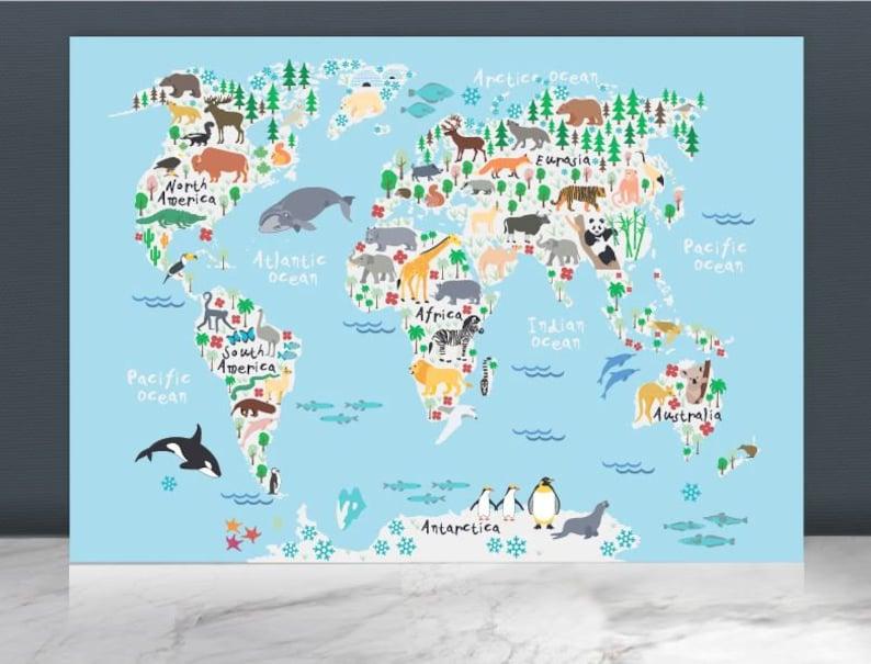 30 % Rabatt!!! Tier Weltkarte Druck/Weltkarte Plakat/Weltkarte  Malerei/Kinder Weltkarte / Kinderzimmer Dekor Welt Karte/Baby Wand  Kunst/Kinder ...