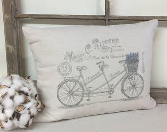 Canvas Pillows, Vintage Pillow with bicycle, throw pillow, decorative pillow
